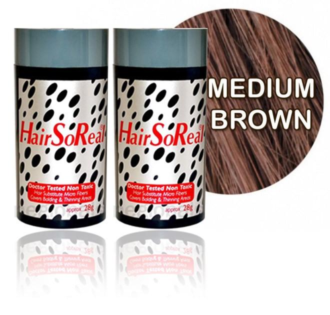 HSR, HairSoReal Hair Building Fibers 2 Packs - Medium Brown 28g