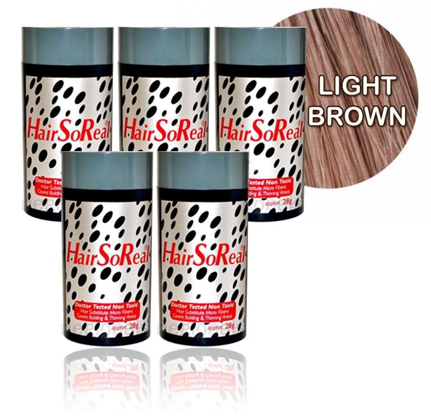 HSR, Hair So Real Hair Building Fibers 5 Packs - Light Brown 28g